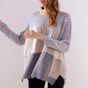 LOFT DOLMAN PATCHWORK SWEATER Textured Knit